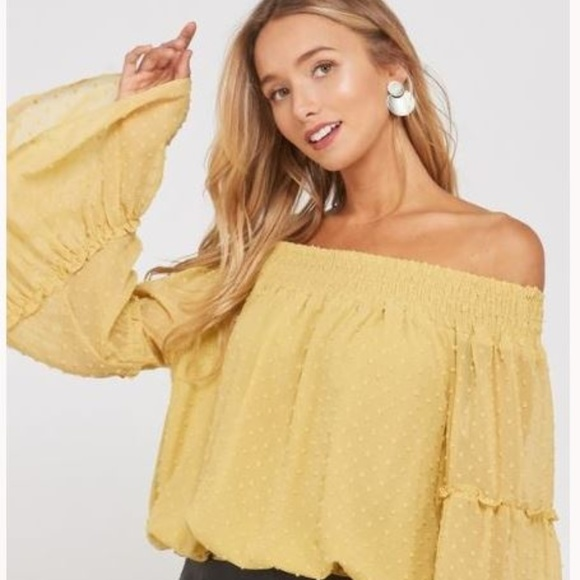 18d7997d588516 Off The Shoulder Mustard Bubble Sleeve Top